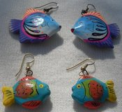 Wooden Fish Earrings 2 Pr Painted in Kingwood, Texas