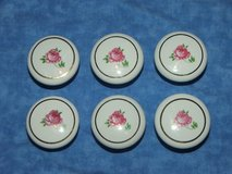 6 Pink Rose Drawer pulls with Gilded Ring in Westmont, Illinois