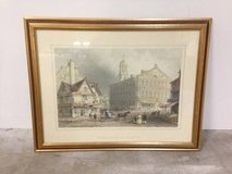 Large Lithograph of FANEUIEL HALL, BOSTON by W.H.Bartlett - Framed in Tomball, Texas